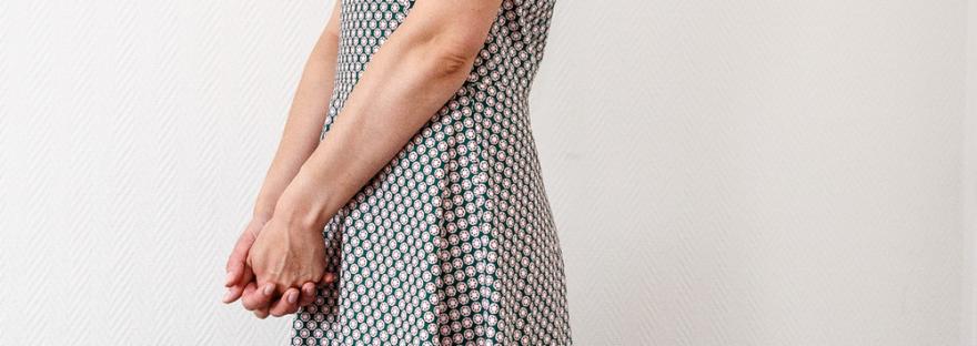Robe HANNA en cretonne de coton motif retro