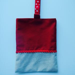 Pochette en coton rouge et lin ecru
