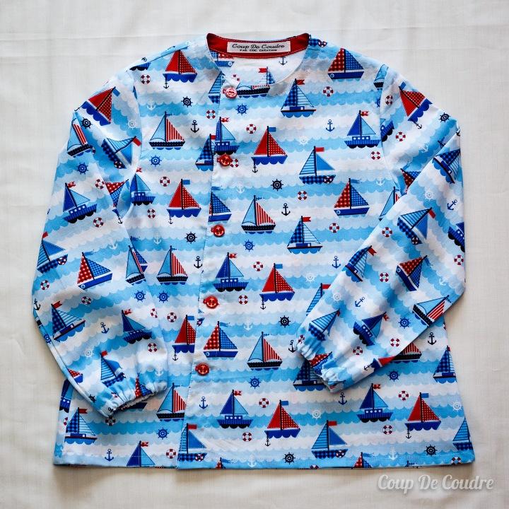 blouse d'école garçon tissu bateau